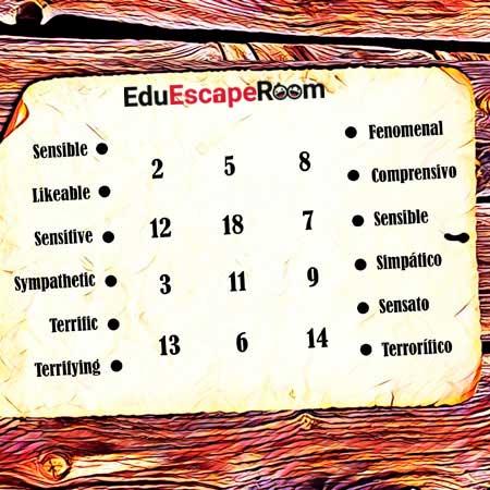 ejemplo 4 reto escape room educativo inglés relaciona palabras